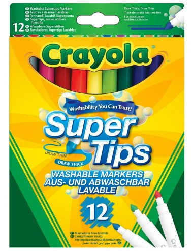 CRAYOLA-12 BRIGHT WASHABLE SUPER TIPS